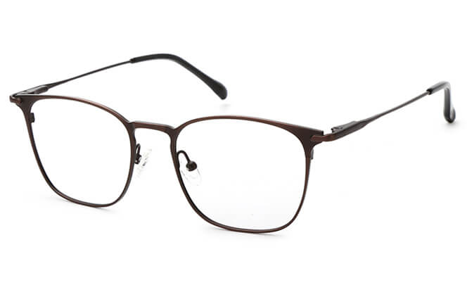 Jesse Spring Hinge Rectangle Eyeglasses, Silver;brown;grey