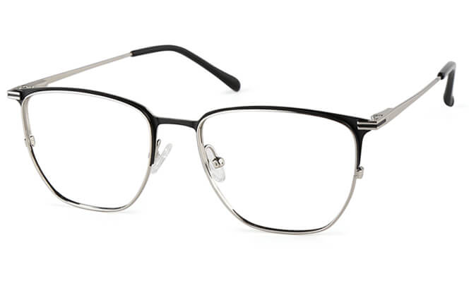 Burnett Rectangle Spring Hinge Eyeglasses, Black;silver;blue;brown