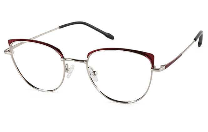 Gemma Cat Eye Metal Eyeglasses, Purple;red