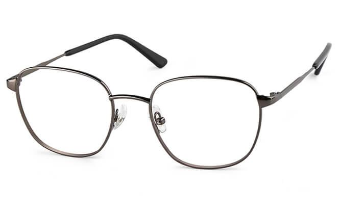 Hadley Rectangle Metal Eyeglasses, Black;silver;grey