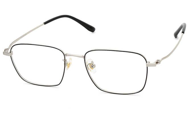 Trista Titanium Rectangle Eyeglasses, Black;silver;gold