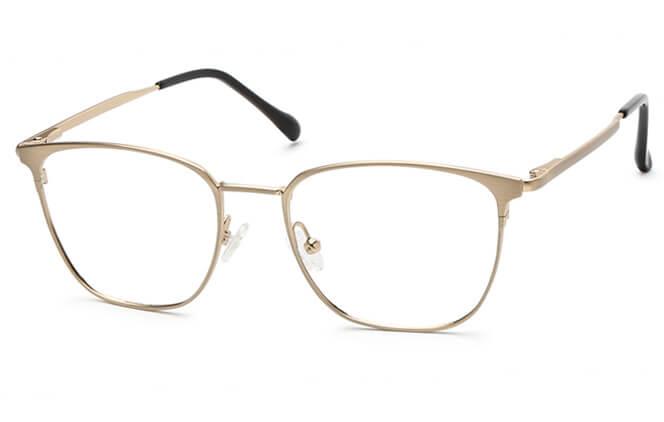 Solmary Rectangle Spring Hinge Eyeglasses, Grey;gold