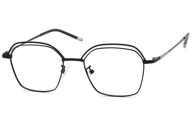 Grecia Rectangle Eyeglasses, Black;gold