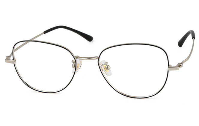 Claudie Titanium Rectangle Eyeglasses, Silver;rose gold;gold