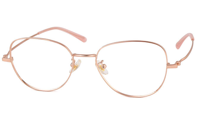 Claudie Titanium Rectangle Eyeglasses, Silver;rose gold;gold