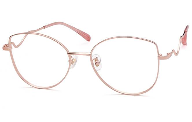 Phillida Cat Eye Metal Eyeglasses, Rose gold