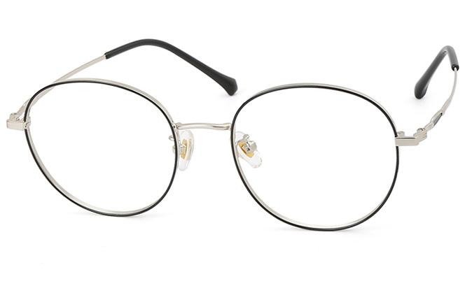 Lydia Metal Round Eyeglasses, Black&rose gold;black&silver;rose gold