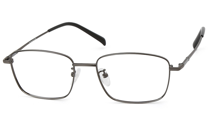 Brad Titanium Rectangle Eyeglasses, Black;silver;gold;grey