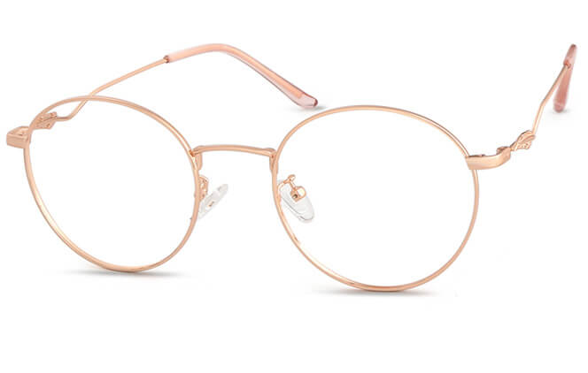 Ericka Round Eyeglasses, Rose gold