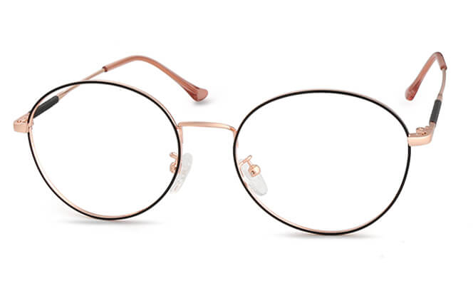 Cara Round Eyeglasses, Black&rose gold;rose gold