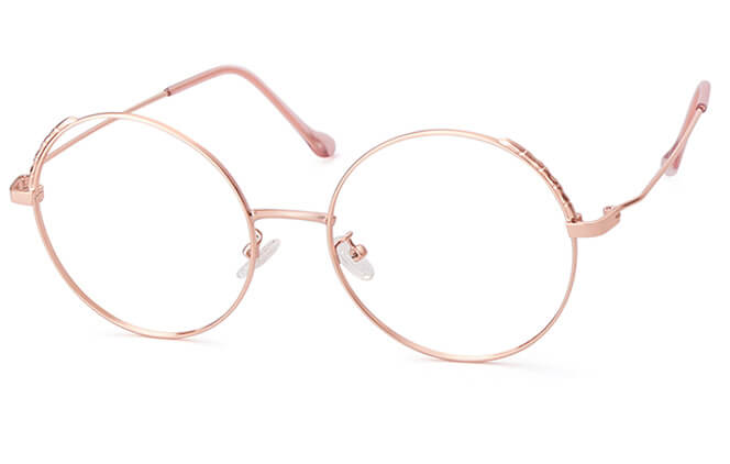 Sigrid Round Eyeglasses, Rose gold