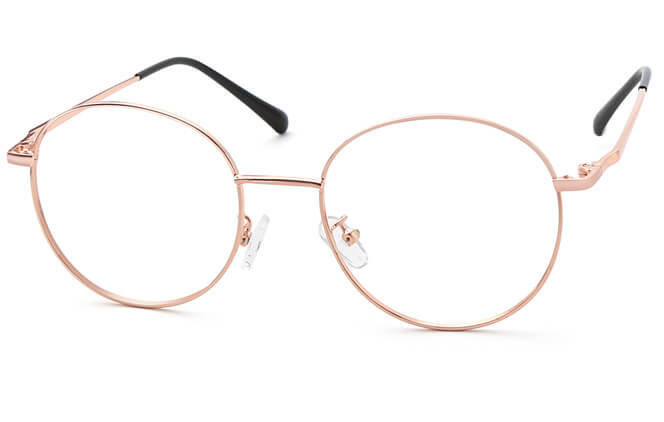 Riley Round Eyeglasses, Black gold;black;rose gold