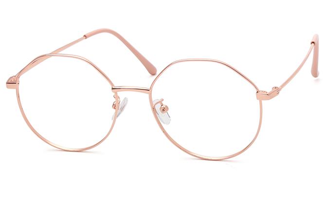 Agnes Polygon Eyeglasses, Black;blackgold;rosegold