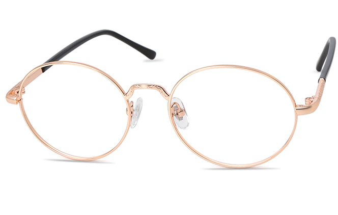 Estelle Oval Eyeglasses, Black;rose gold