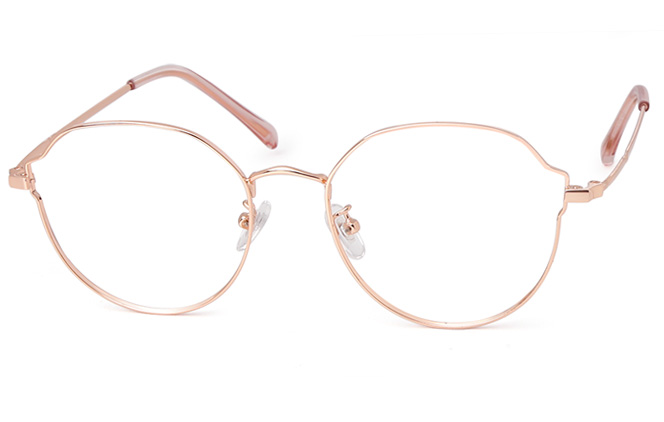 Adrienne Polygon Eyeglasses, Rose gold