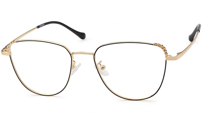 Pauline Cateye Eyeglasses, Black and gold