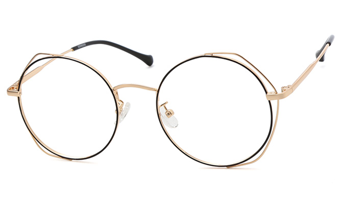Anglie Round Eyeglasses, Purple & rose gold;black & gold
