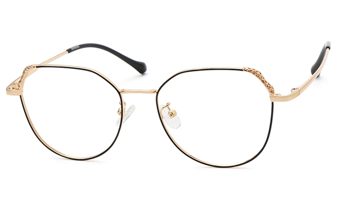 Bondy Cateye Eyeglasses, Black & gold