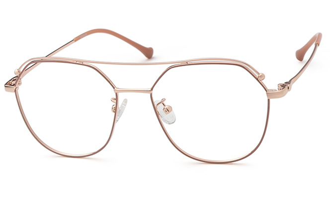 Nichola Aviator Eyeglasses, Gold;cameo brown;blue