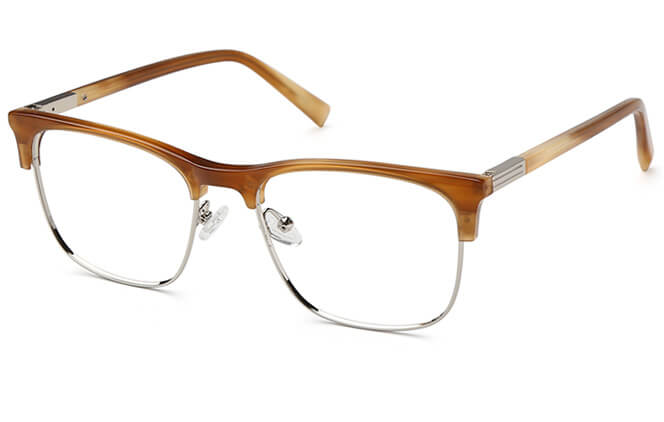 Alva Browline Metal Eyeglasses, Tortoiseshell;blue;brown