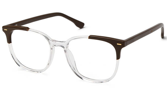 Armand Rectangle Spring Hinge Eyeglasses, Brown;blue