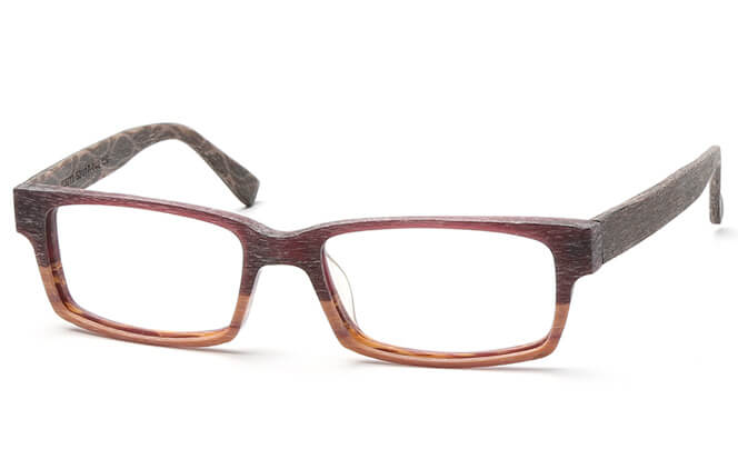 Wallace Rectangle Faux Wood Eyeglasses, Brown