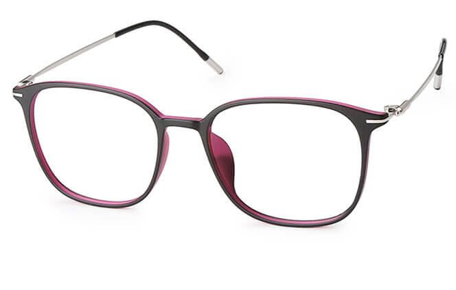 Clint Rectangle Eyeglasses, Black;purple