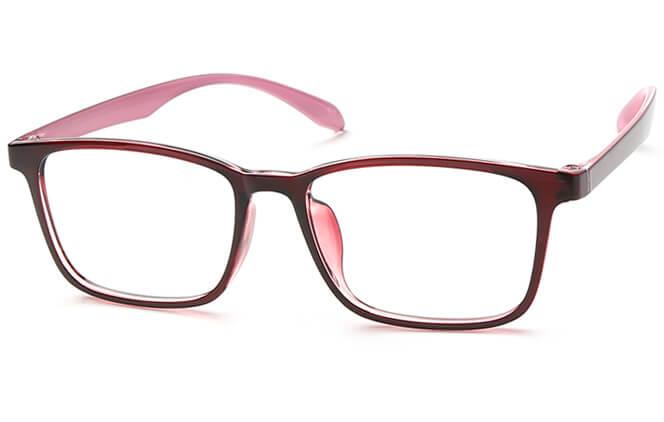 Shantel Rectangle Eyeglasses, Brown;red;purple