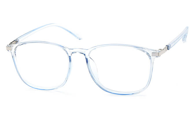 Naomi Square Eyeglasses, Blue;champagne;clear