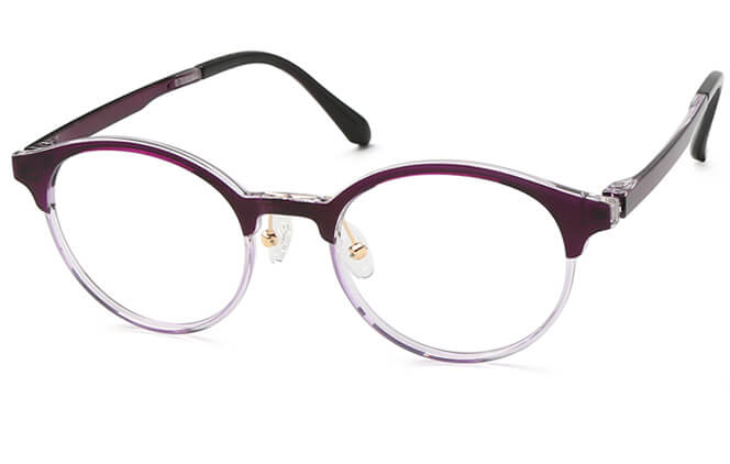 Beyonce Browline Eyeglasses, Black;purple