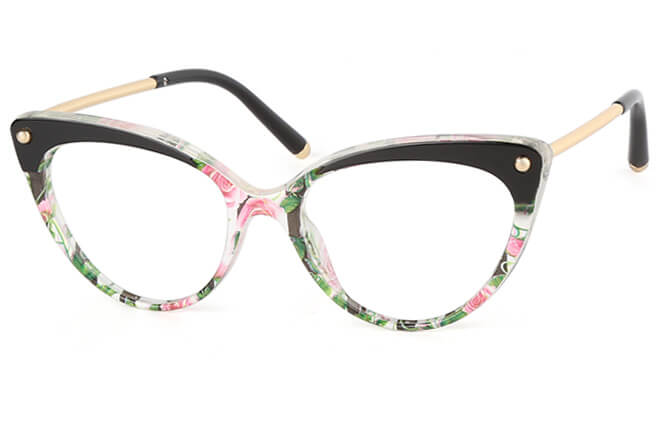Penni Cat Eye Eyeglasses, Black;floral;tortoiseshell;yellow
