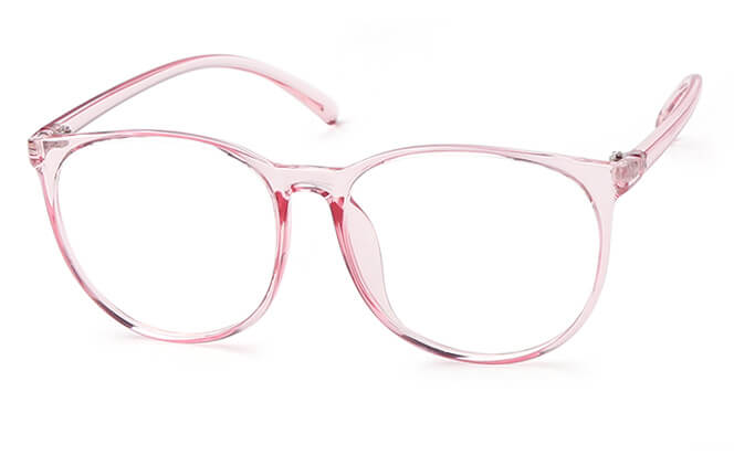 Cecilia Oval Eyeglasses, Brown;pink