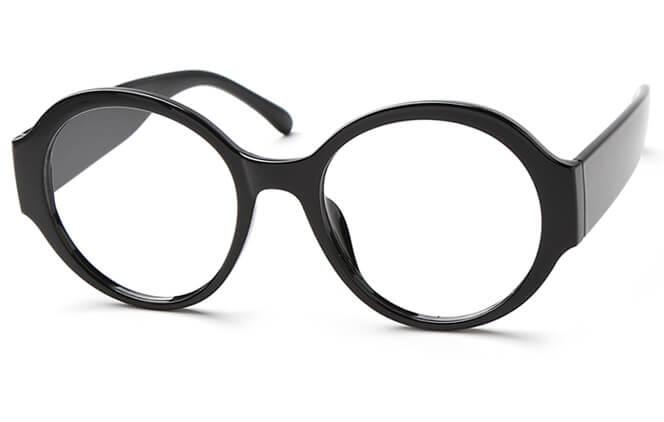 Adriana Round Eyeglasses, Black;brown