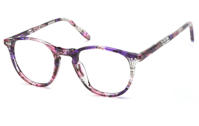 Dabora Spring Hinge Round Eyeglasses, Floral;grey