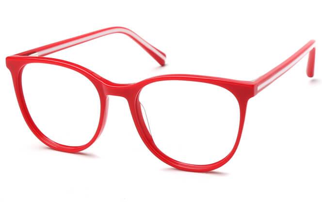 Karen Spring Hinge Oval Eyeglasses, Red