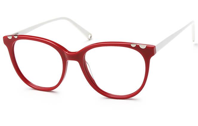 Poppy Spring Hinge Oval Eyeglasses, Black;red;milky white