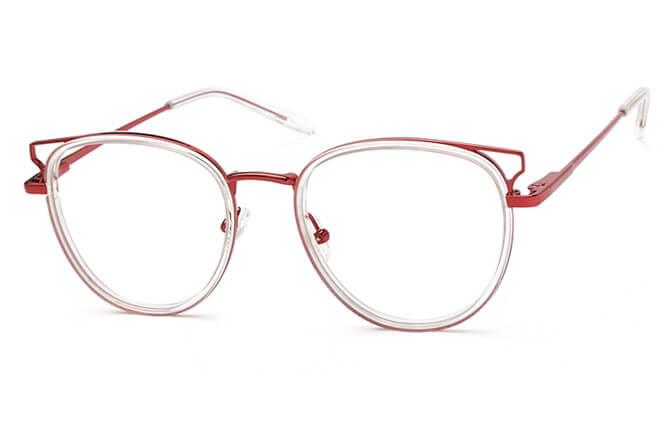 Marianne Spring Hinge Cat Eye Eyeglasses, Clear&red;purple &silver