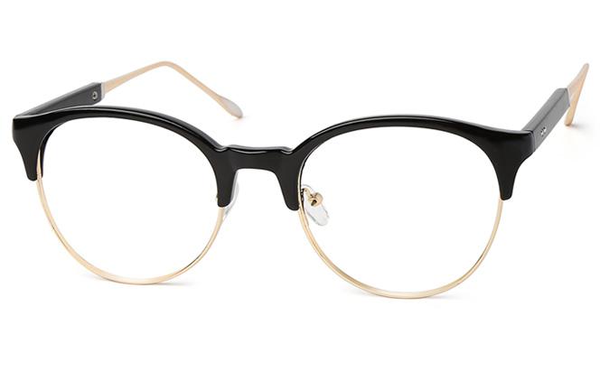 Stephanie Browline Eyeglasses, Black;grey