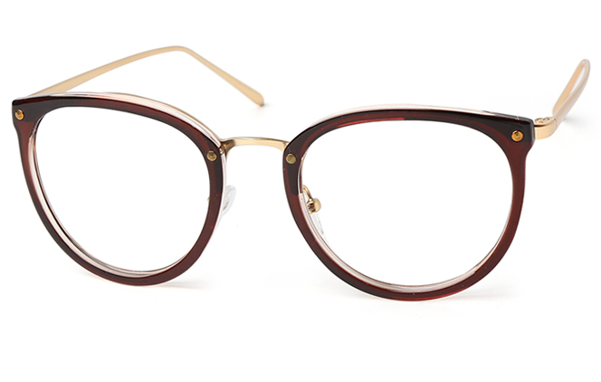 Amanda Round Eyeglasses, Brown