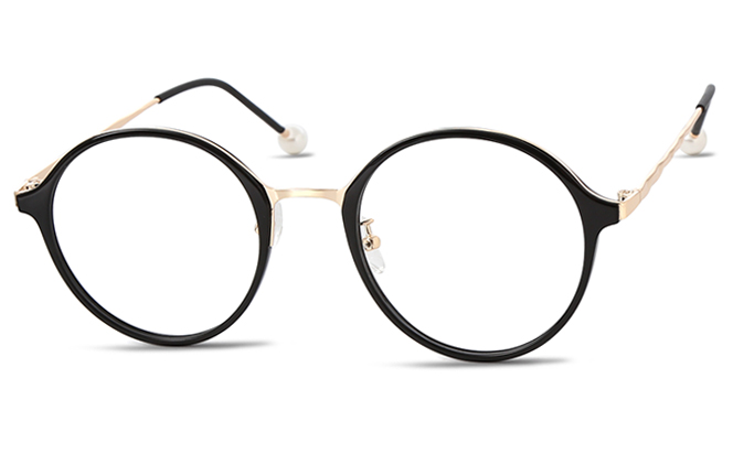 Juno Round Eyeglasses, Black &gold;black;purple&rose gold;champagne&rose gold