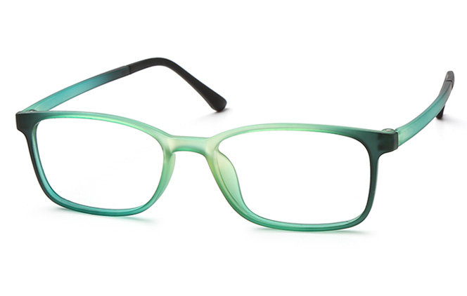 Dame Rectangle Eyeglasses, Green