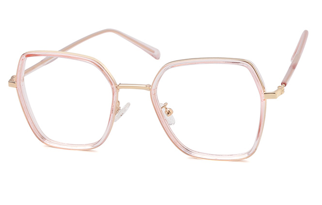 Cora Polygon Eyeglasses, Black;clear;pink;grey