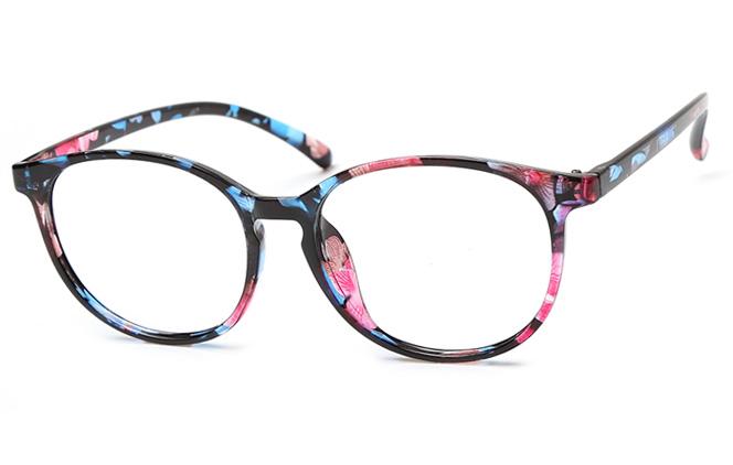 Crystal Round Eyeglasses, Floral;green and black