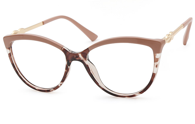 Bunny Cateye Sping Hinge Eyeglasses, Cameo brown;clear;black;black and blue