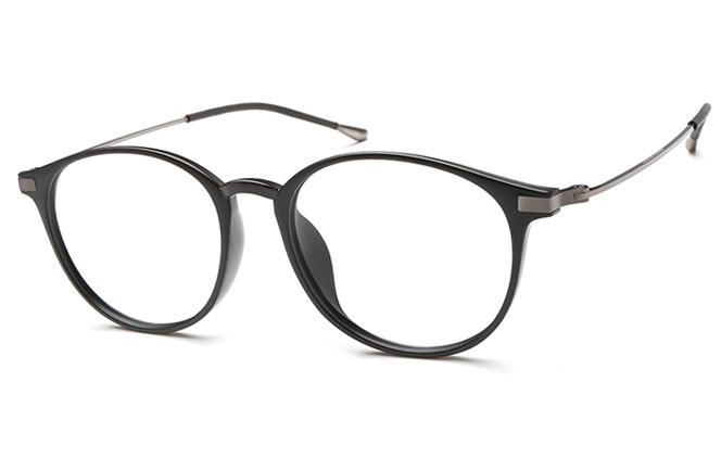 Gloria Round Eyeglasses, Black;brilliant black