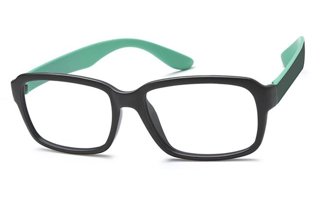 Dumas Rectangle Eyeglasses, Purple;green and black