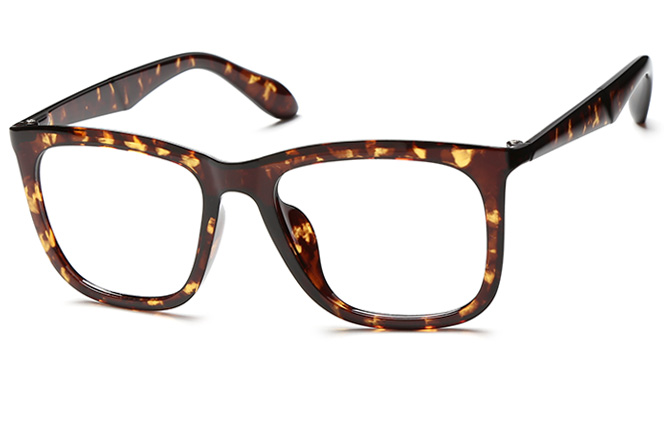 Zola Square Eyeglasses, Amber;tortoiseshell;black and red