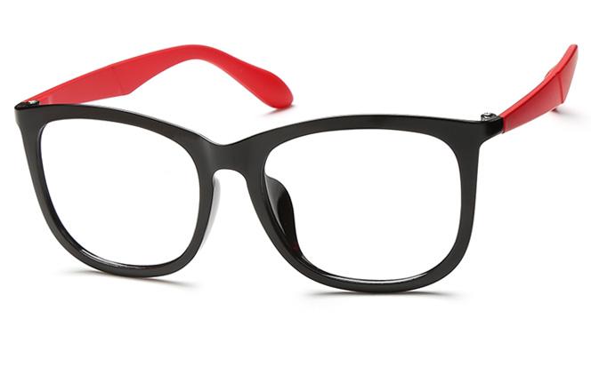 Zhao Square Eyeglasses, Black and red;tortoiseshell