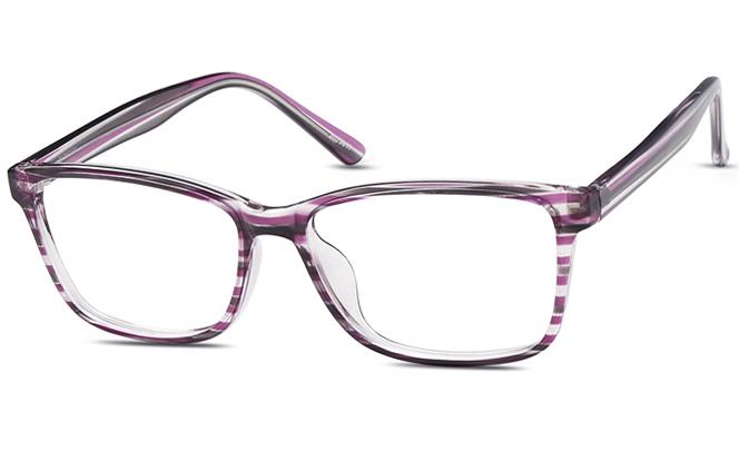 200510 Rectangle Glasses, Brown stripe;purple stripe