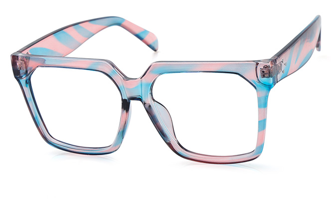 200533 Square Glasses, Pink and blue;tortoiseshell